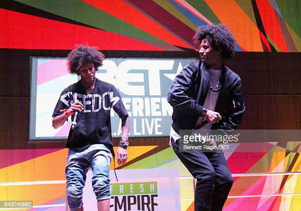 Recording artists Laurent Bourgeois and Larry Bourgeois of Les Twins perform on the BETX stage during the 2016 BET Experience on June 26 2016 in Los...