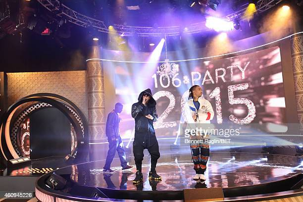 Recording artists Lil Boosie Jeremih and Snootie Wild perform during 106 Party at BET studio on December 12 2014 in New York City
