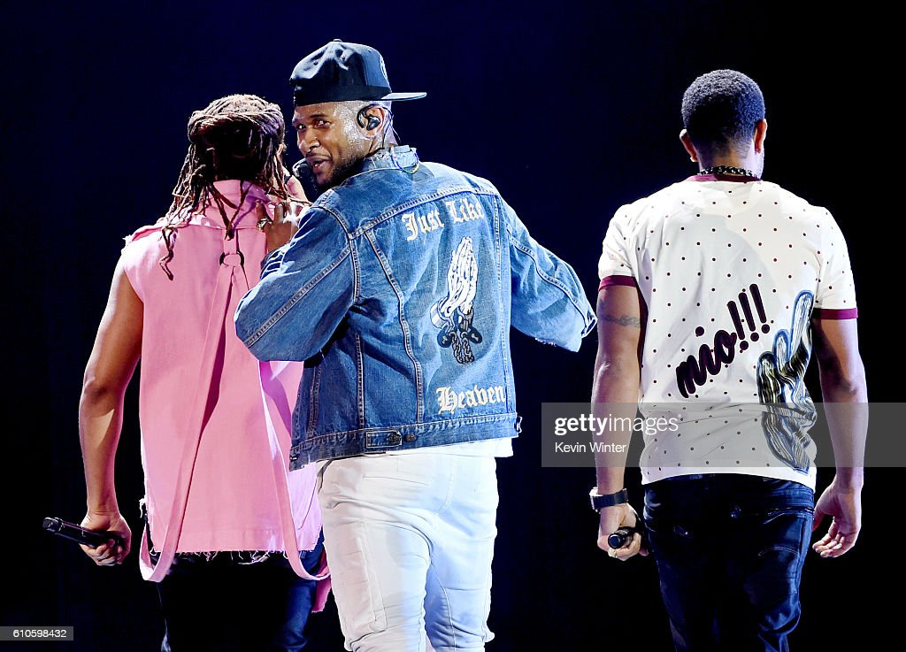 Recording artists Lil Jon, Usher and Ludacris perform onstage at the iHeartRadio Music Festival at T-Mobile Arena on September 24, 2016 in Las Vegas, Nevada.
