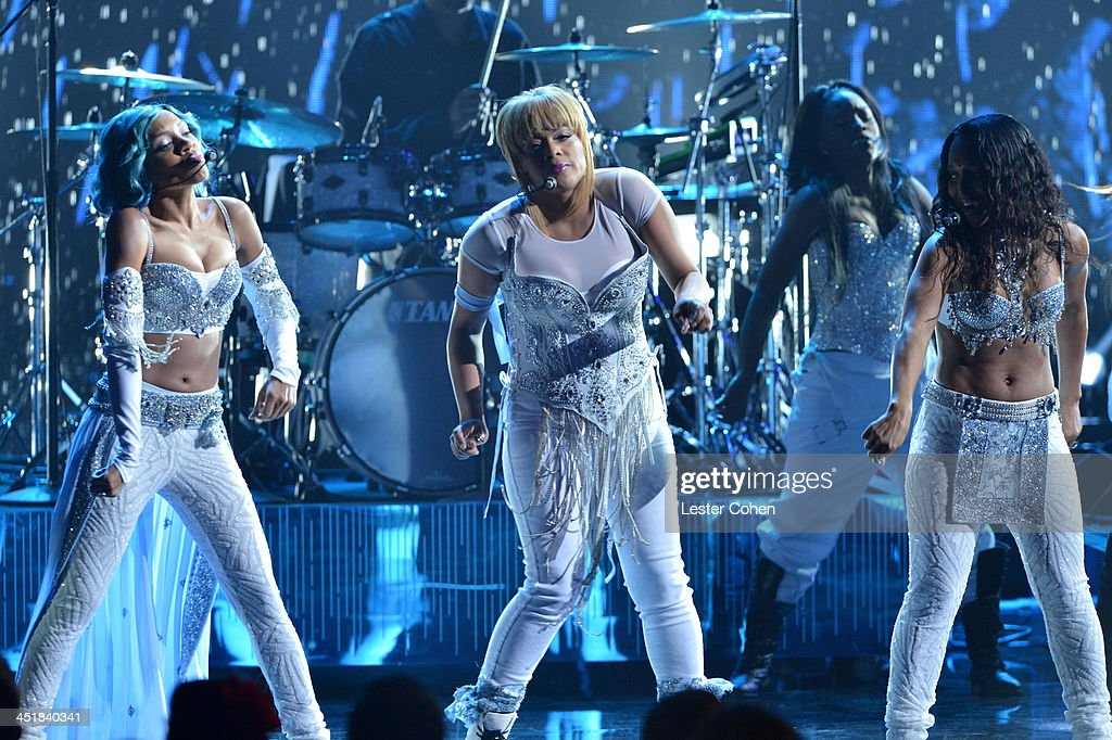 Recording artists Lil' Mama and music group TLC members <a gi-track='captionPersonalityLinkClicked' href=/galleries/search?phrase=T-Boz&family=editorial&specificpeople=715877 ng-click='$event.stopPropagation()'>T-Boz</a> and Chilli perform onstage during the 2013 American Music Awards at Nokia Theatre L.A. Live on November 24, 2013 in Los Angeles, California.
