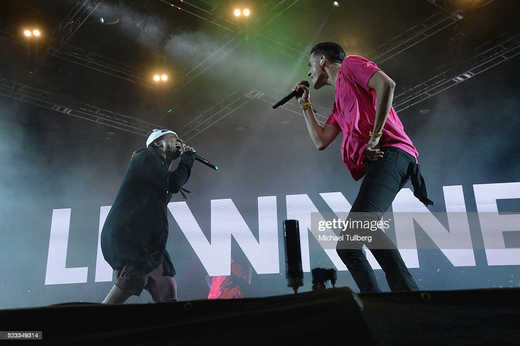 Recording artists Lil Wayne and GEazy perform onstage during day 1 of the 2016 Coachella Valley Music Arts Festival Weekend 2 at the Empire Polo Club...