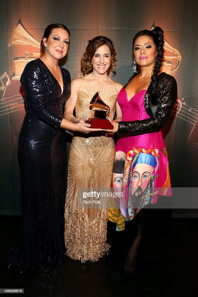 Recording artists Lila Downs, Nina Pastori and Soledad Pastorutti, winners of Best Folk Album, attend the 15th annual Latin GRAMMY Awards premiere ceremony at the Hollywood Theatre at the MGM Grand Hotel/Casino on November 20, 2014 in Las Vegas, Nevada.