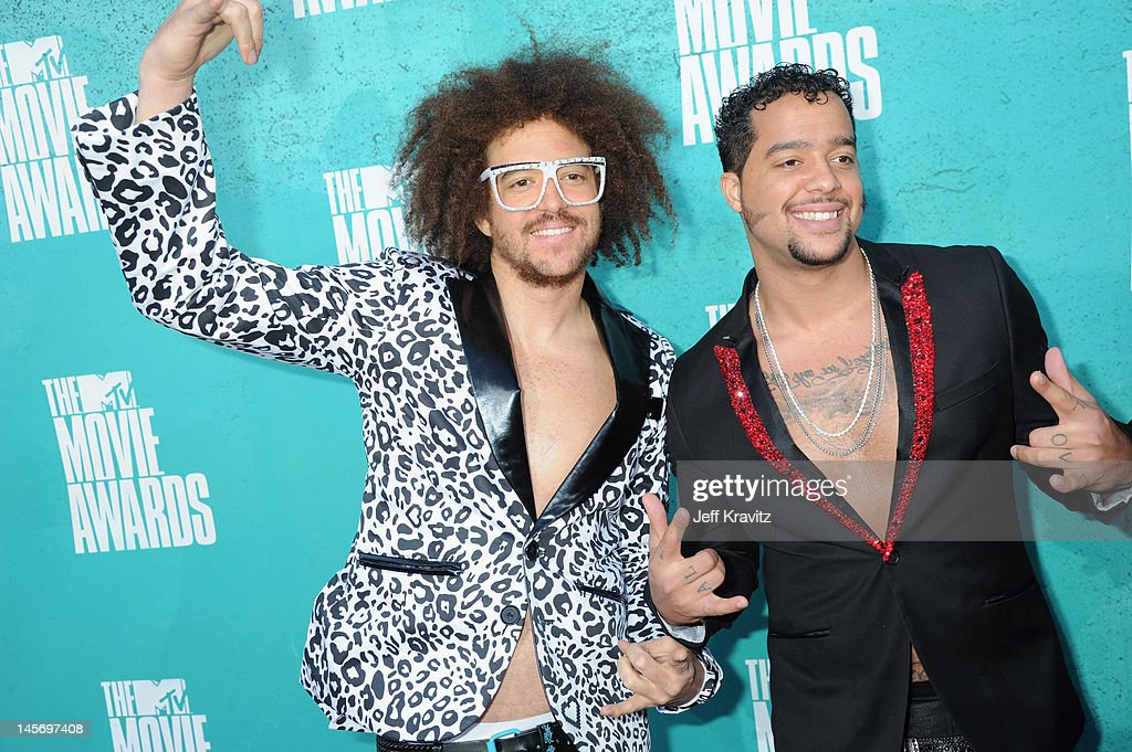Recording artists LMFAO arrive at the 2012 MTV Movie Awards held at Gibson Amphitheatre on June 3 2012 in Universal City California