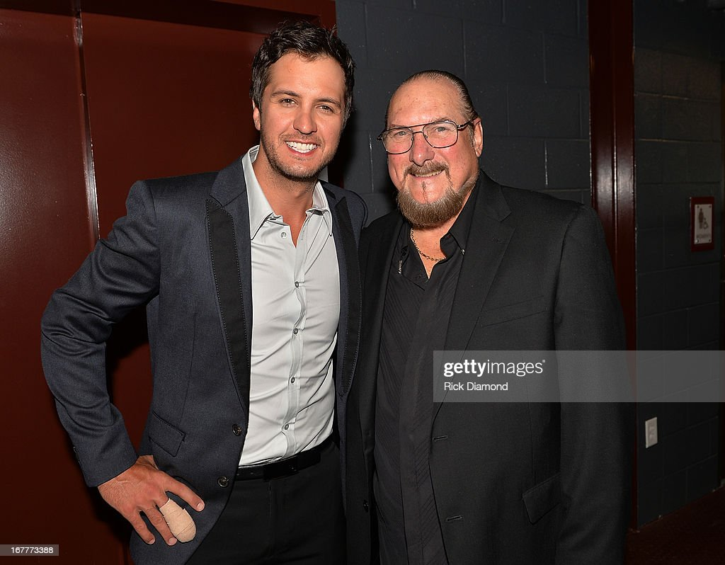 Recording Artists Luke Bryan and Steve Cropper attend the 14th annual T.J. Martell Foundation Nashville Best Cellars dinner at the Bridge Building on April 29, 2013 in Nashville, Tennessee.