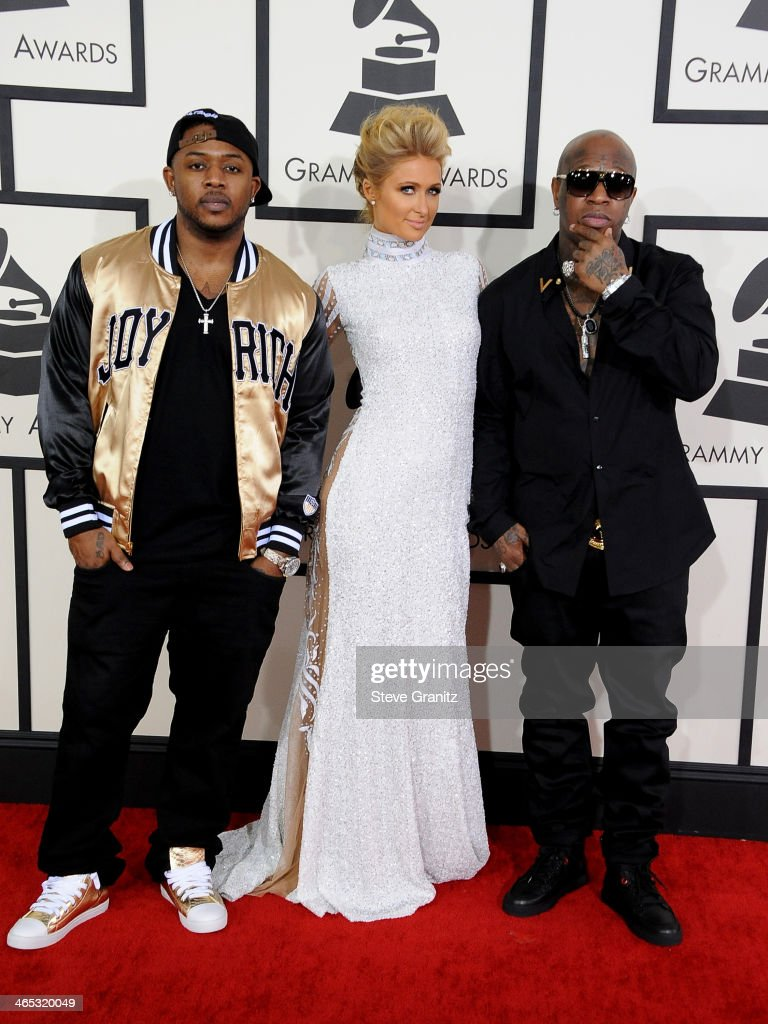 Recording artists Mack Maine, Paris Hilton and Birdman attend the 56th GRAMMY Awards at Staples Center on January 26, 2014 in Los Angeles, California.