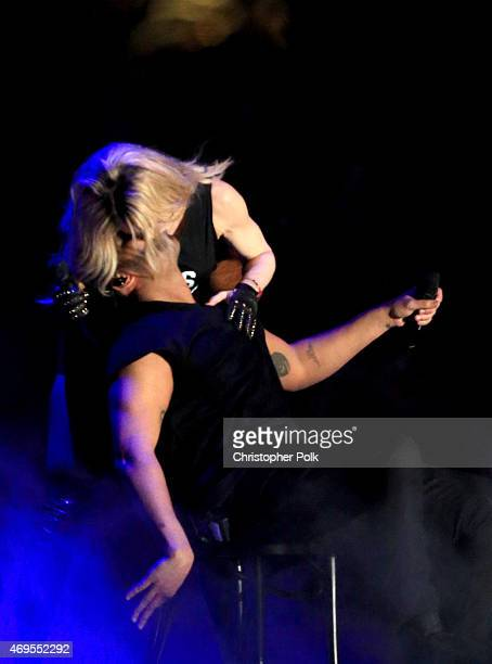 Recording artists Madonna and Drake perform onstage during day 3 of the 2015 Coachella Valley Music Arts Festival at the Empire Polo Club on April 12...
