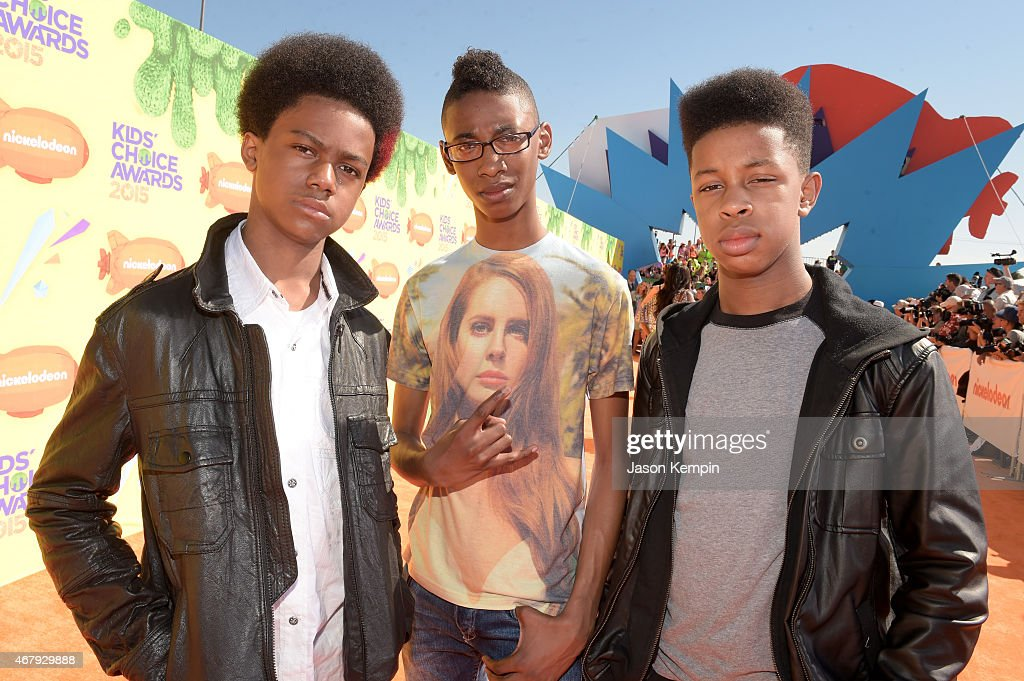 Recording artists Malcolm Brickhouse Alec Atkins and Jarad Dawkins of Unlocking the Truth attend Nickelodeon's 28th Annual Kids' Choice Awards held...