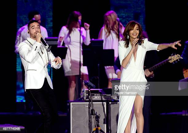Recording artists Maluma and Leslie Grace perform onstage during the 2015 Latin GRAMMY Person of the Year honoring Roberto Carlos at the Mandalay Bay...