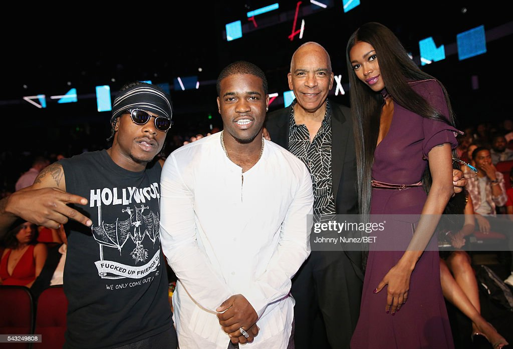 Recording artists Marty Baller, A$AP Ferg, director Stan Lathan and model <a gi-track='captionPersonalityLinkClicked' href=/galleries/search?phrase=Jessica+White&family=editorial&specificpeople=220742 ng-click='$event.stopPropagation()'>Jessica White</a> attend the 2016 BET Awards at the Microsoft Theater on June 26, 2016 in Los Angeles, California.