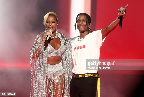 Recording artists Mary J Blige and A$AP Rocky perform onstage during the 2017 BET Awards at Microsoft Theater on June 25 2017 in Los Angeles...