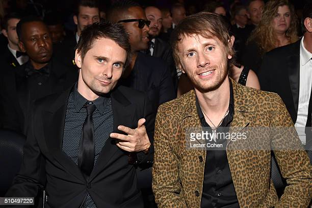 Recording artists Matt Bellamy and Dominic Howard of music group Muse attends The 58th GRAMMY Awards at Staples Center on February 15 2016 in Los...
