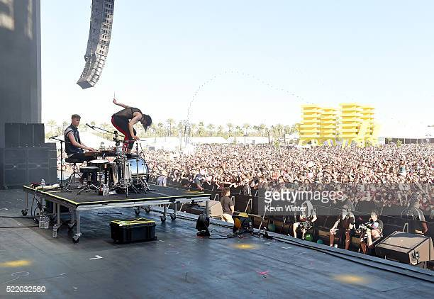 Recording artists Matt Johnson and Kim Schifino of Matt and Kim perform onstage during day 3 of the 2016 Coachella Valley Music And Arts Festival...