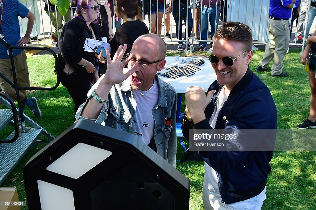 Recording artists Matt Maust and Nathan Willett of music group Cold War Kids attend KROQ Weenie Roast 2016 at Irvine Meadows Amphitheatre on May 14...