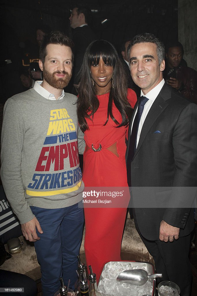 Recording Artists Mayer Hawthorne and Kelly Rowland with Republic Records Founder and President Avery Lipman attend Republic Records Post Grammy Party at The Emerson Theatre on February 10, 2013 in Hollywood, California.