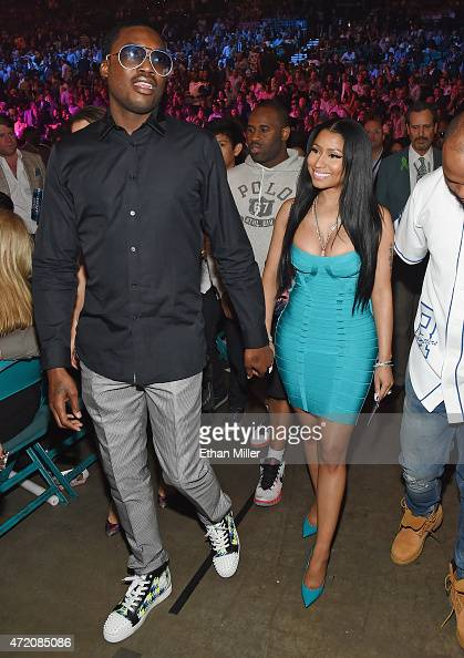 Recording artists Meek Mill and Nicki Minaj arrive at 'Mayweather VS Pacquiao' presented by SHOWTIME PPV And HBO PPV at MGM Grand Garden Arena on May...