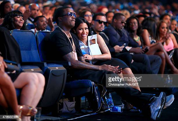 Recording artists Meek Mill and Nicki Minaj attend the 2015 BET Awards at the Microsoft Theater on June 28 2015 in Los Angeles California