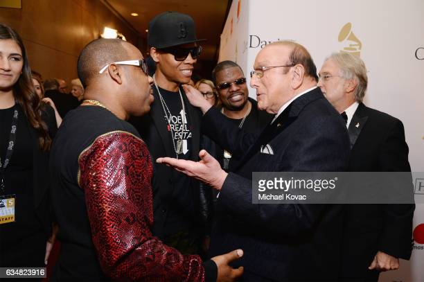 Recording artists Michael Bivins Ronnie DeVoe and Ricky Bell of music group Bell Biv DeVoe host Clive Davis and President/CEO of The Recording...