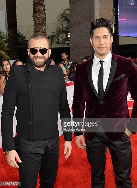 Recording artists Miguel Ignacio Mendoza and Jesus Alberto Miranda Perez of Chino y Nacho attends the 16th Latin GRAMMY Awards at the MGM Grand...