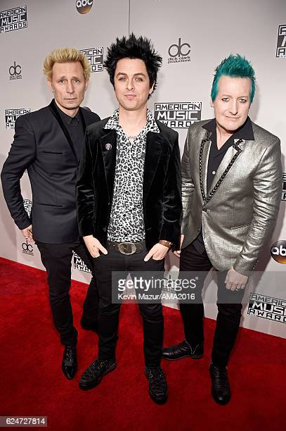 Recording artists Mike Dirnt Billie Joe Armstrong and Tre Cool of Green Day attend the 2016 American Music Awards at Microsoft Theater on November 20...