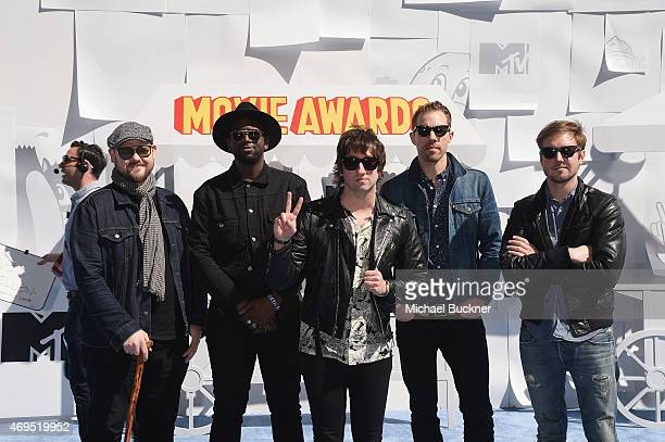 Recording artists Mike Retondo De'Mar Hamilton Tom Higgenson Tim Lopez and Dave Tirio of music group Plain White T's attend The 2015 MTV Movie Awards...