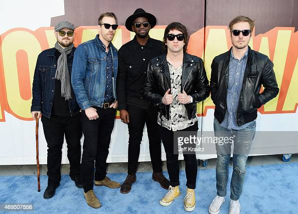Recording artists Mike Retondo Tim Lopez De'Mar Hamilton Tom Higgenson and Dave Tirio of music group Plain White T's attend The 2015 MTV Movie Awards...