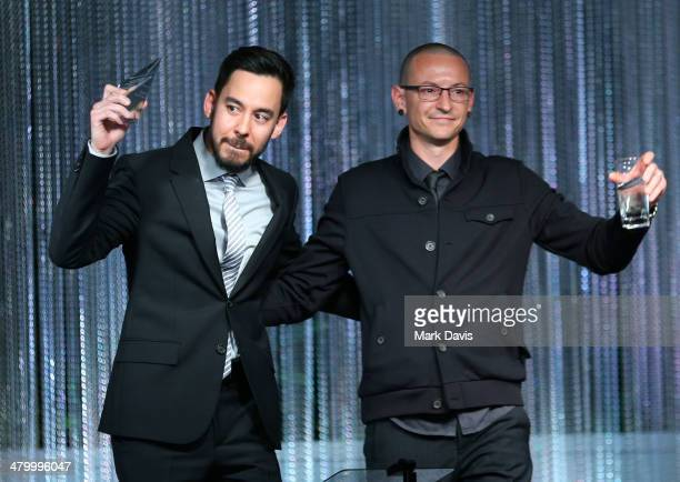 Recording artists Mike Shinoda and Chester Bennington attend the UCLA Institute Of The Environment And Sustainability 'An Evening Of Environmental...