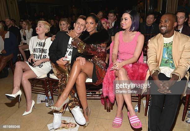Recording artists Miley Cyrus honoree Jeremy Scott recording artists Rihanna Katy Perry and Kanye West attend The DAILY FRONT ROW 'Fashion Los...