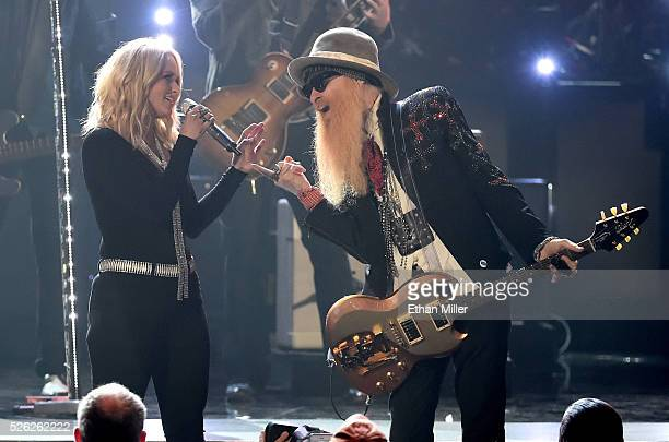 Recording artists Miranda Lambert and Billy Gibbons perform during the 51st Academy of Country Music Awards at MGM Grand Garden Arena on April 3 2016...