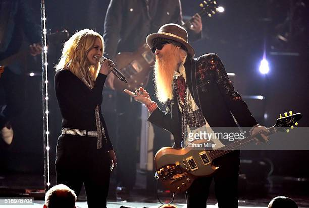 Recording artists Miranda Lambert and Billy Gibbons perform onstage during the 51st Academy of Country Music Awards at MGM Grand Garden Arena on...