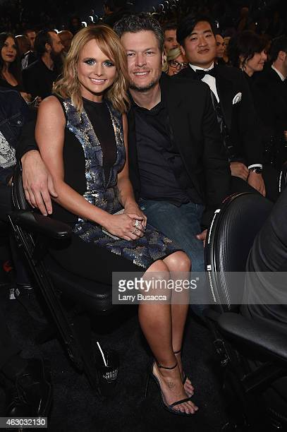 Recording Artists Miranda Lambert and Blake Shelton attend The 57th Annual GRAMMY Awards at the STAPLES Center on February 8 2015 in Los Angeles...