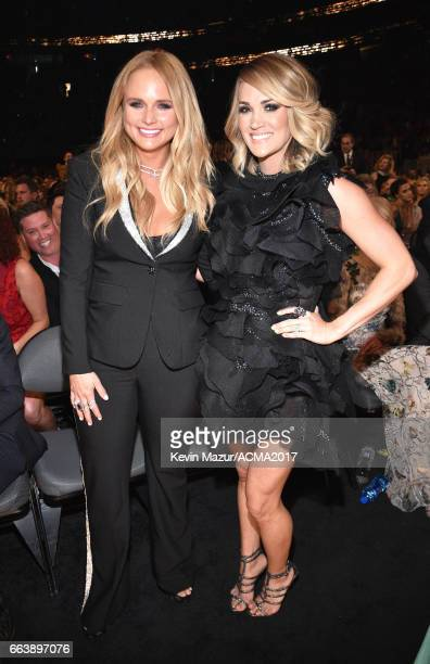 Recording artists Miranda Lambert and Carrie Underwood attend the 52nd Academy Of Country Music Awards at TMobile Arena on April 2 2017 in Las Vegas...