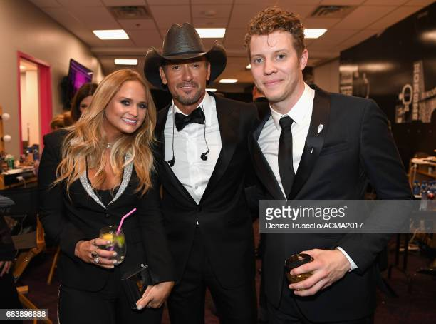 Recording artists Miranda Mambert Tim McGrew and Anderson East attend the 52nd Academy Of Country Music Awards at TMobile Arena on April 2 2017 in...