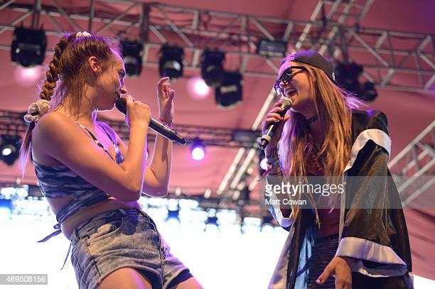 Recording artists Mo and Elliphant perform onstage during day 3 of the 2015 Coachella Valley Music Arts Festival at the Empire Polo Club on April 12...