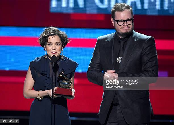 Recording artists Natalia Lafourcade and Leonel Garcia accept the Song of the Year award award for 'Hasta la Raiz' onstage during the 16th Latin...