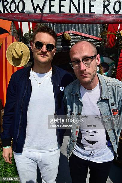 Recording artists Nathan Willett and Matt Maust of music group Cold War Kids attend KROQ Weenie Roast 2016 at Irvine Meadows Amphitheatre on May 14...