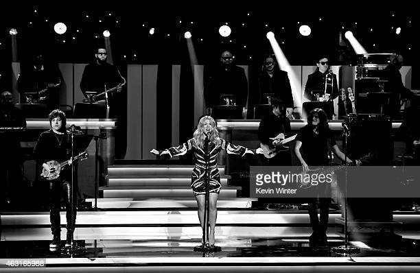 Recording artists Neil Perry Kimberly Perry and Reid Perry of music group The Band Perry perform onstage during Stevie Wonder Songs In The Key Of...