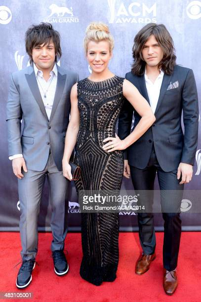 Recording artists Neil Perry Kimberly Perry and Reid Perry of music group The Band Perry attend the 49th Annual Academy of Country Music Awards at...