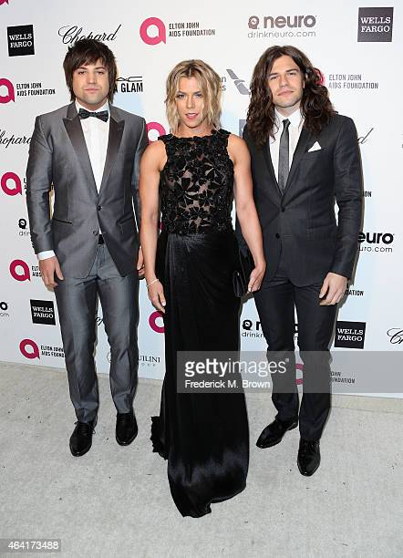 Recording artists Neil Perry Kimberly Perry and Reid Perry of The Band Perry attend the 23rd Annual Elton John AIDS Foundation's Oscar Viewing Party...