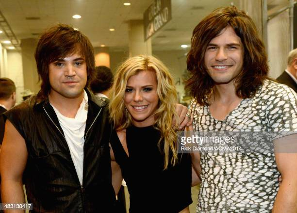 Recording artists Neil Perry Kimberly Perry and Reid Perry of The Band Perry attend the 49th Annual Academy of Country Music Awards at the MGM Grand...