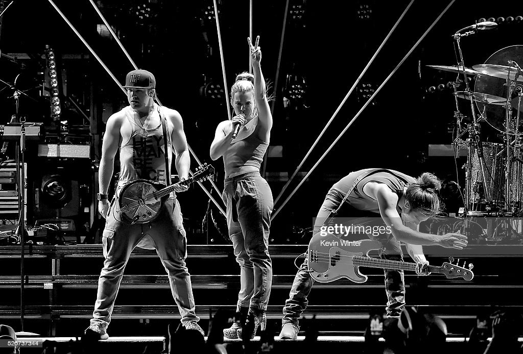 Recording artists Neil Perry, Kimberly Perry and Reid Perry of The Band Perry perform onstage during 2016 Stagecoach California's Country Music Festival at Empire Polo Club on April 30, 2016 in Indio, California.