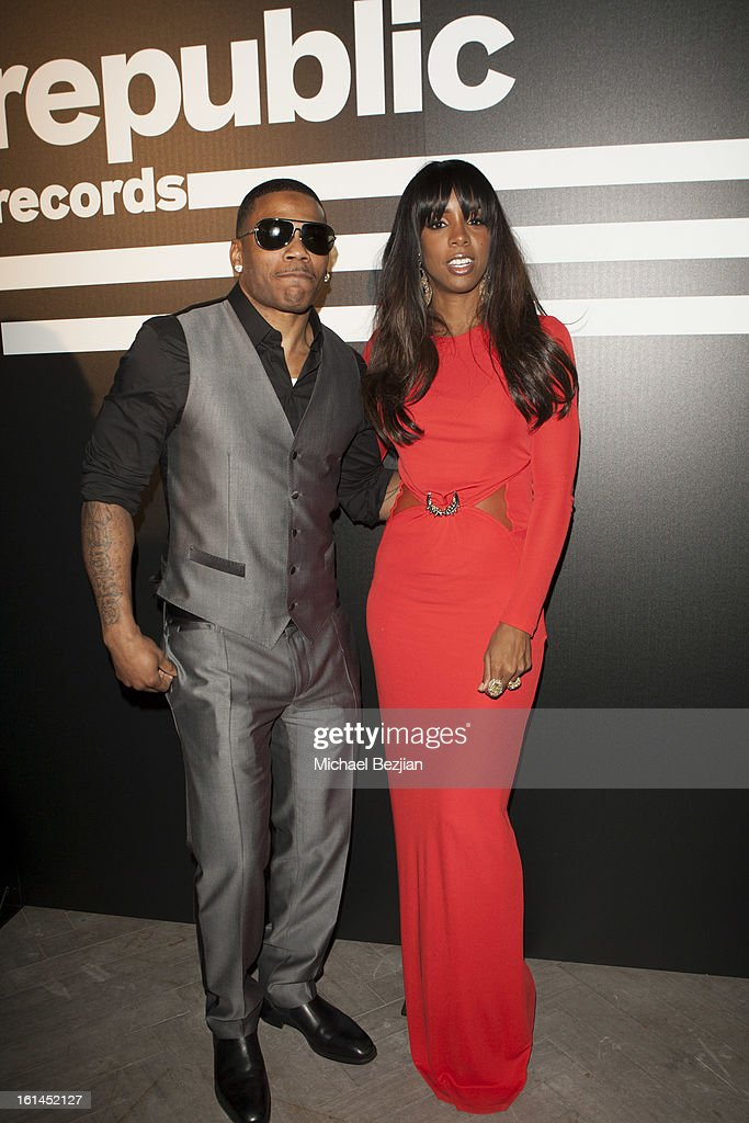 Recording Artists Nelly and Kelly Rowland attend Republic Records Post Grammy Party at The Emerson Theatre on February 10, 2013 in Hollywood, California.