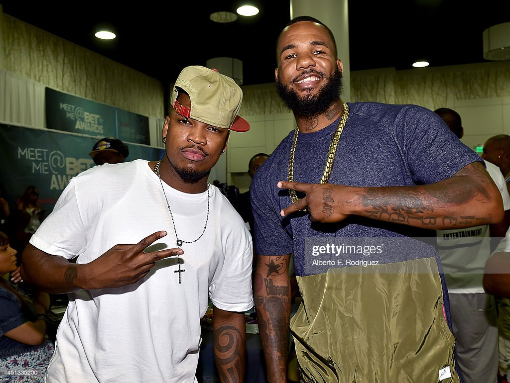Recording artists <a gi-track='captionPersonalityLinkClicked' href=/galleries/search?phrase=Ne-Yo&family=editorial&specificpeople=451543 ng-click='$event.stopPropagation()'>Ne-Yo</a> (L) and <a gi-track='captionPersonalityLinkClicked' href=/galleries/search?phrase=The+Game+-+Hip+Hop+Artist&family=editorial&specificpeople=2239621 ng-click='$event.stopPropagation()'>The Game</a> attend day 1 of the Radio Broadcast Center during the BET Awards '14 on June 27, 2014 in Los Angeles, California.