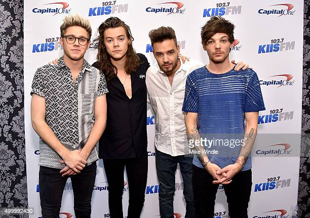 Recording artists Niall Horan Harry Styles Liam Payne and Louis Tomlinson of music group One Direction attend 1027 KIIS FM's Jingle Ball 2015...