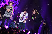 Recording artists Niall Horan Liam Payne and Harry Styles of One Direction perform at 1027 KIIS FM's Jingle Ball 2015 presented by Capital One at...