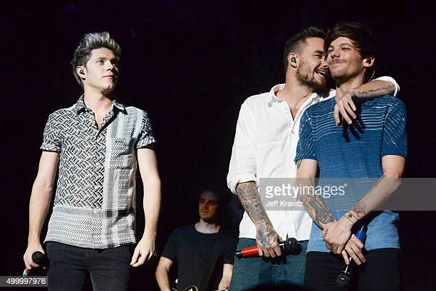 Recording artists Niall Horan Liam Payne and Louis Tomlinson of One Direction performs onstage during 1027 KIIS FM's Jingle Ball 2015 Presented by...