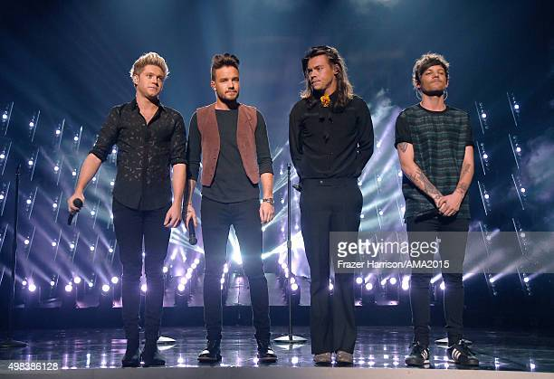 Recording artists Niall Horan Liam Payne Harry Styles and Louis Tomlinson of One Direction perform onstage during the 2015 American Music Awards at...