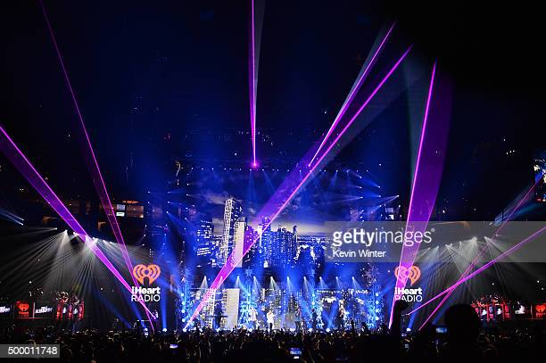 Recording artists Niall Horan Liam Payne Louis Tomlinson and Harry Styles of One Direction perform onstage during 1027 KIIS FM's Jingle Ball 2015...