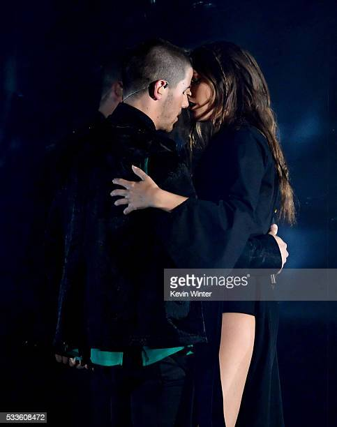 Recording artists Nick Jonas and Tove Lo perform onstage during the 2016 Billboard Music Awards at TMobile Arena on May 22 2016 in Las Vegas Nevada