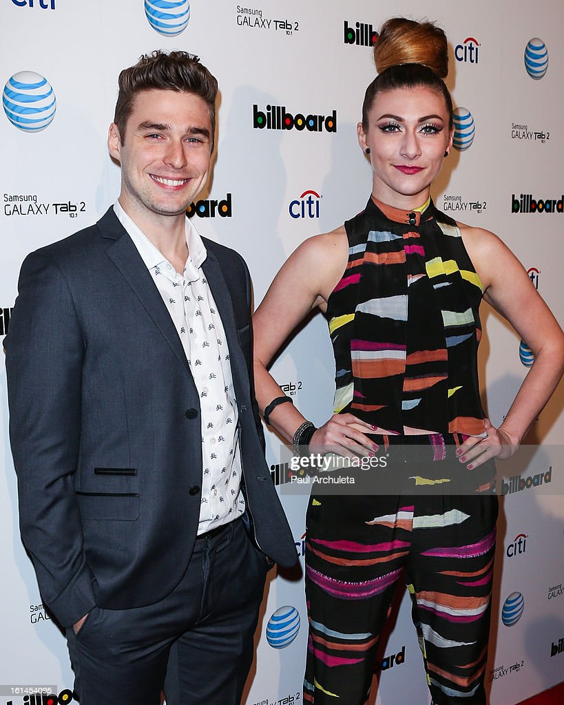 Recording Artists Nick Noonan (L) and Amy Heidemann (R) of the Rock Band Karmen attend The Billboard GRAMMY after party at The London Hotel on February 10, 2013 in West Hollywood, California.