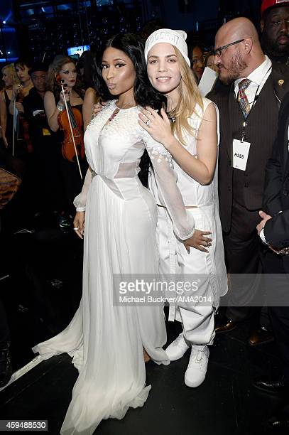 Recording artists Nicki Minaj and Skylar Grey attend the 2014 American Music Awards at Nokia Theatre LA Live on November 23 2014 in Los Angeles...